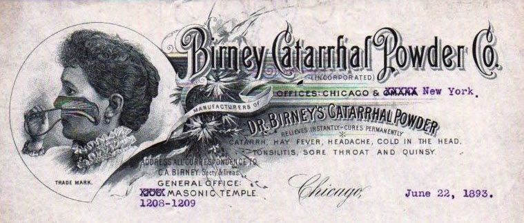 Birney Catarrhal Powder Co Chicago Cocaine letterhead / billhead
