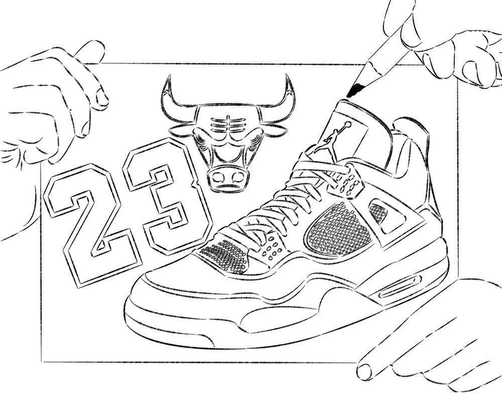 Nba Chicago Bull Basketball Shoes Coloring Pages Enjoy With