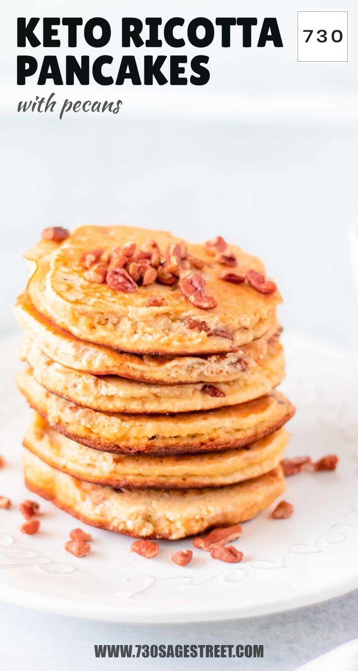 Keto Ricotta Pancakes with Pecans