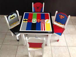 Resultado de imagen para mesas infantiles pintadas con superheroes