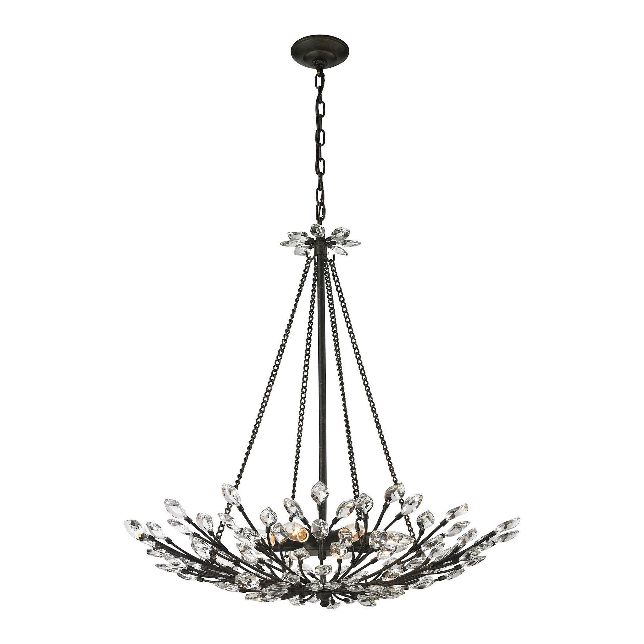 Elk Lighting 8 Crystal Branches Collection Burnt