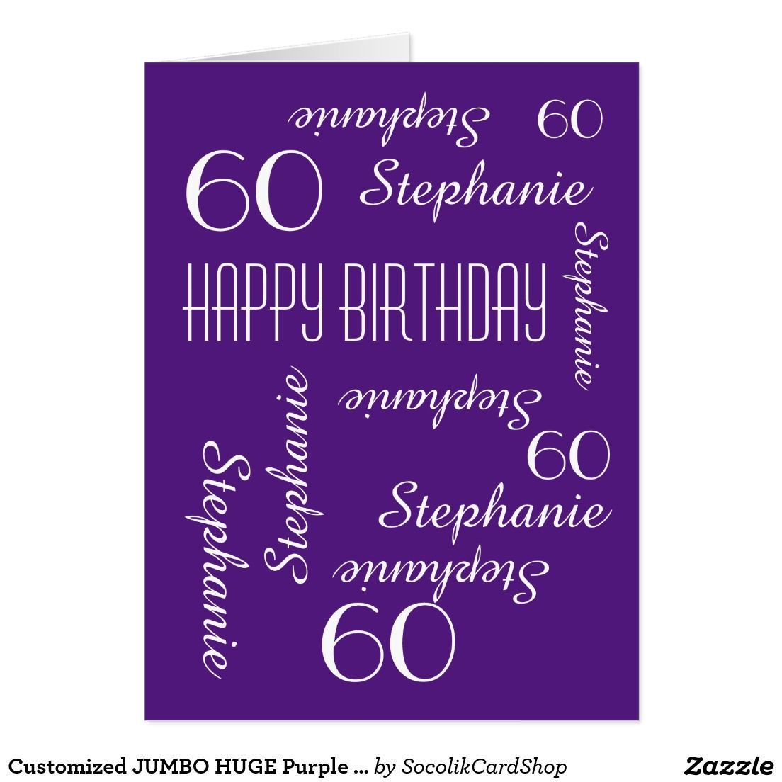 Customized Jumbo Huge Purple Birthday Card Any Age What A