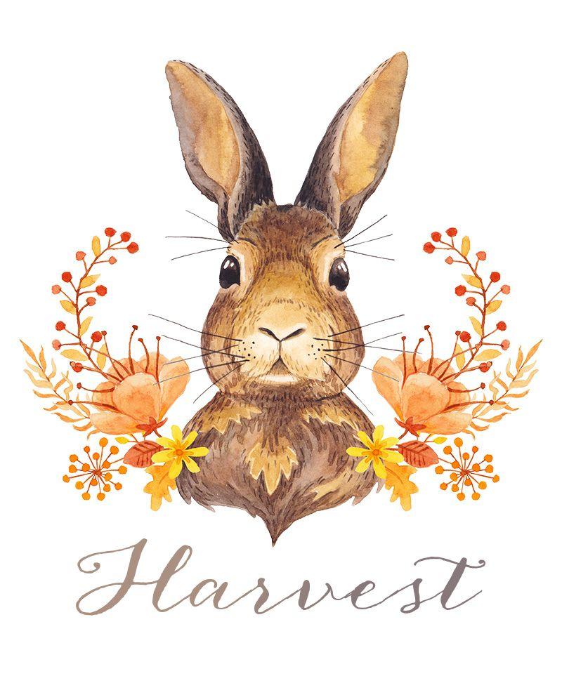 Lapin ceint de fleurs art dessin guirlandes de fleurs aquarelles estampes lapin automne - Guirlande halloween a imprimer ...
