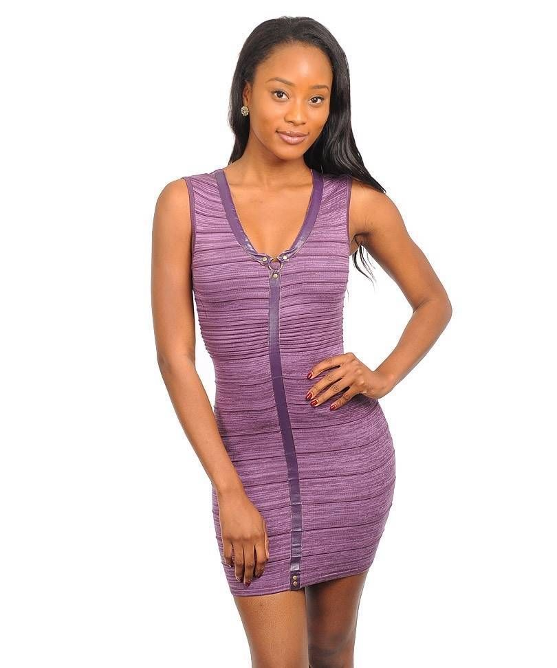 Sexy purple striped oring bandage cleavage dress rocker party mini