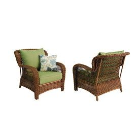 Superbe Allen Roth Set Of 2 Belanore Steel Strap Seat Patio Chairs With Solid Green  Cushions