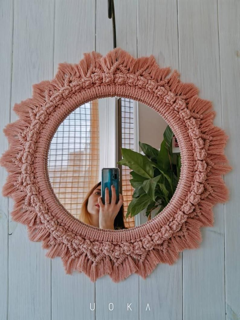 Mandala Mirror Macrame Round Macrame Wreath Bohemian Mirror Wall Mirror Hanging Blush Pink Mirror Eco Friendly Art Macrame Mirror Macrame Wall Art Bohemian Mirror