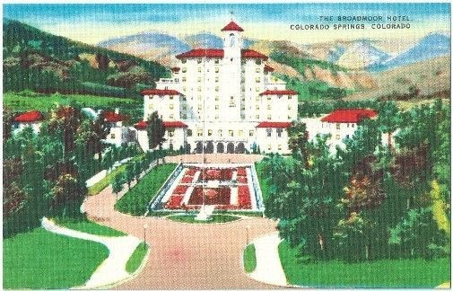 Colorado Springs Co Broadmor Hotel Aerial View Vintage Postcard Colorado Linen