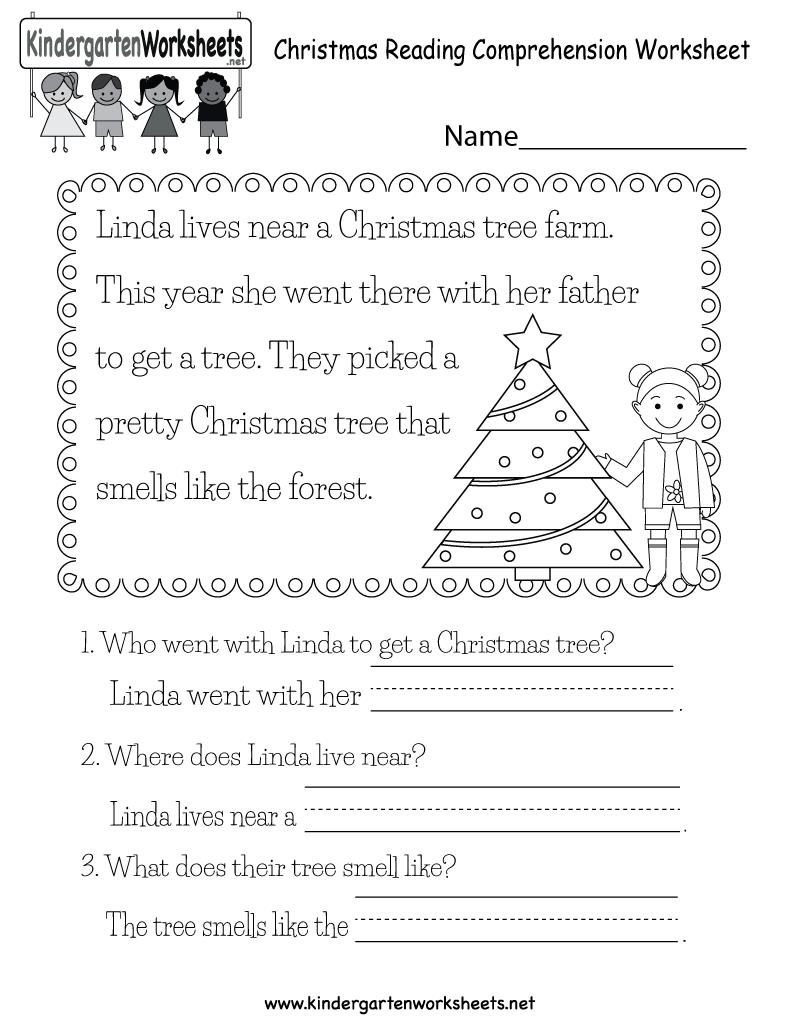 - Christmas Reading Worksheet - Free Kindergarten Holiday Worksheet