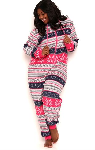 Plus Size Plush Onesie with Fair Isle Print and Hood | style ...