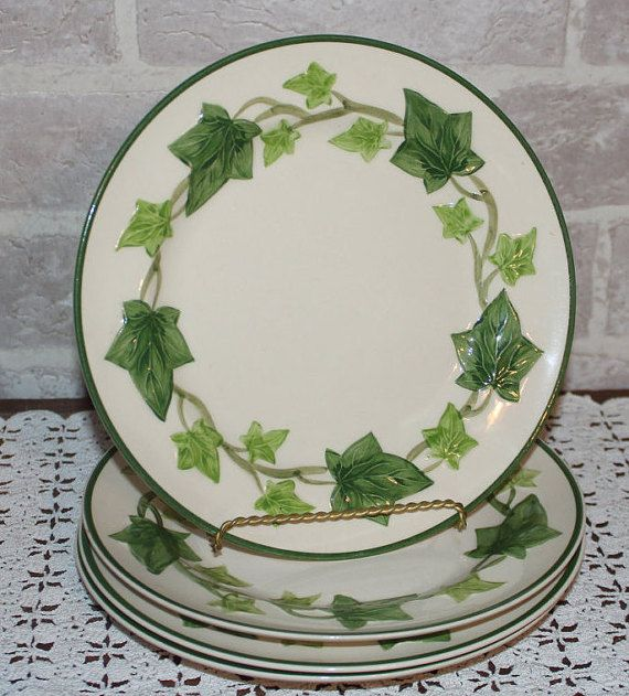 Franciscan Ivy salad plates inches set of 4 for your green Ivy decor Ivy dinnerware dishes California Pottery & Franciscan Ivy salad plates 8.5 inches set of 4 for your green Ivy ...