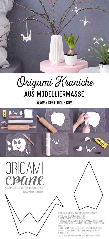 Photo of Origami Kranich aus Modelliermasse – DIY Frühlingsdeko – Nicest Things