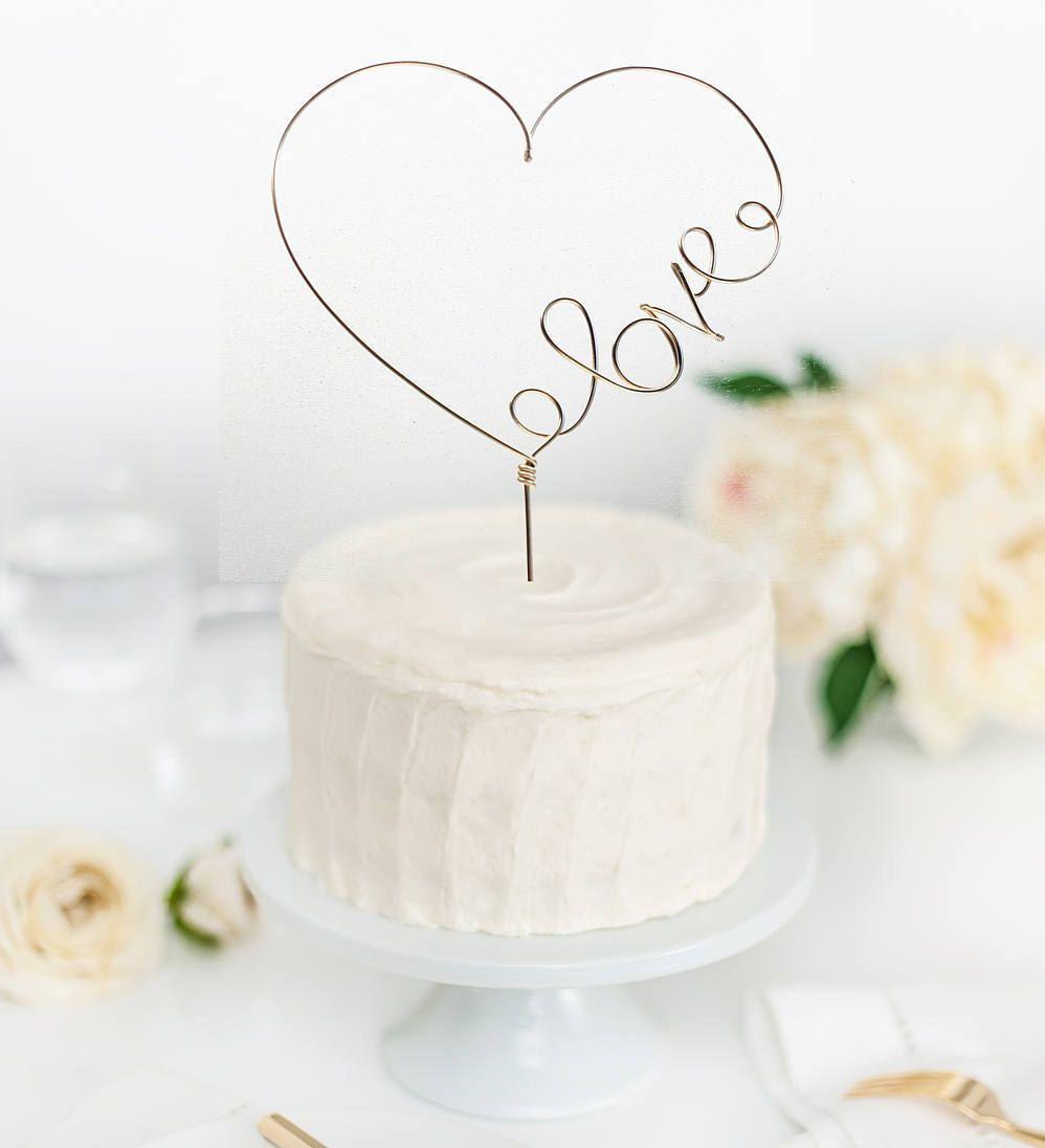 Heart love topper - Wedding cake topper -Script cake topper - Heart ...