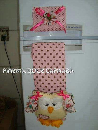 Puxador de geladeira coruja | PANOS DE PRATO, AVENTAIS E ACESSORIOS ...