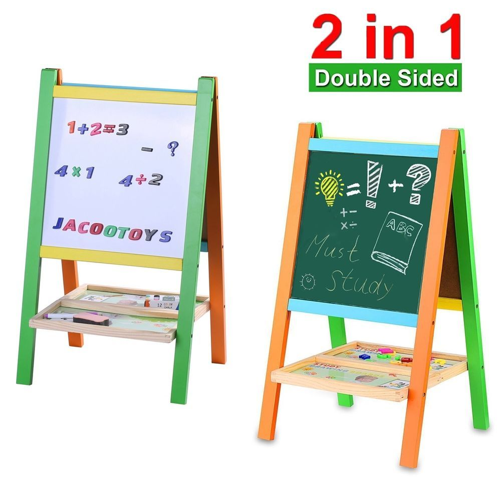 Standing Art Easel Two Sided Board Magnetic Alphabet And Numbers Drawing Gift Jacootoys Art Easel Alphabet And Numbers Drawing For Kids