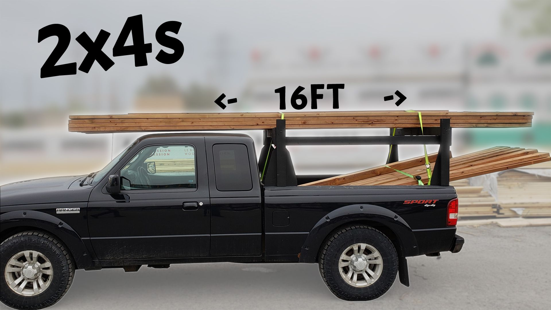 Diy homemade truck rack made with 2x4s wood studs ideal