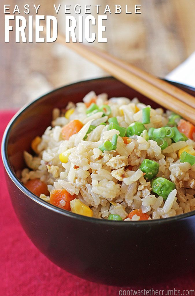 Easy and delicious vegetable fried rice that takes just a few minutes to make. This incredibly versatile dish can be mixed and matched with just about any combination of vegetables! ::DontWastetheCrumbs.com