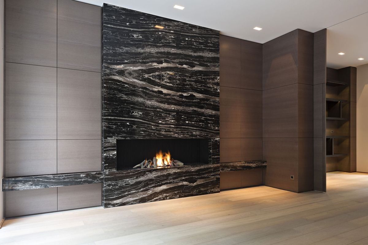Private House Project Black Marble Fireplace Realisation Les