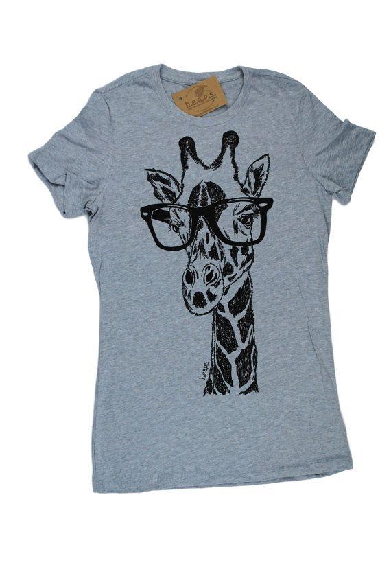 Womens TShirts - Hipster Giraffe Womens Tee - African TShirts - Fashion  TShirts - Cool Tee 401ccd04f