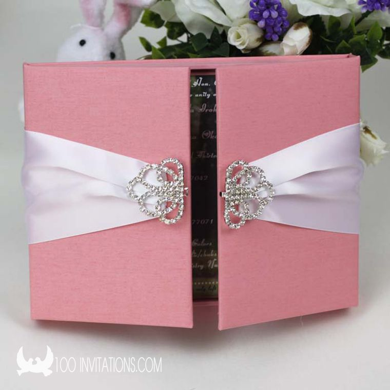 Pink Silk Box Wedding Invitations With Large Crystal Clasp