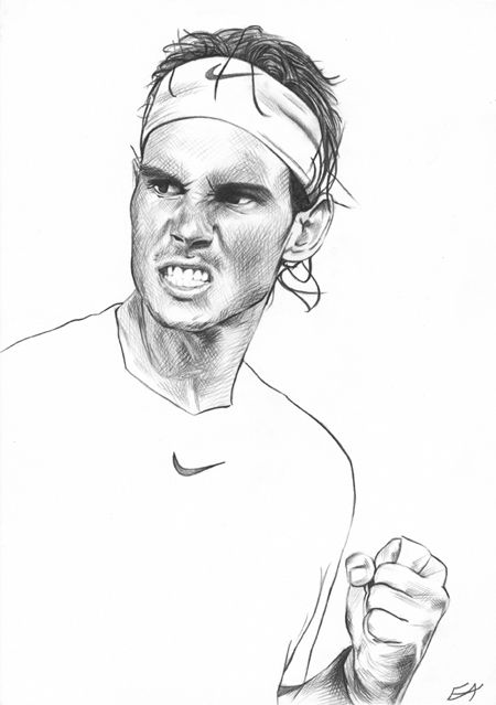 Rafael Nadal 2013 Sketch Pencil By Emmy Bulu Rafael Nadal Tennis Art Tennis Drawing