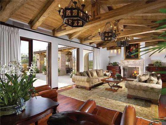 Spanish style living room, wrought iron lighting, vaulted wood ...