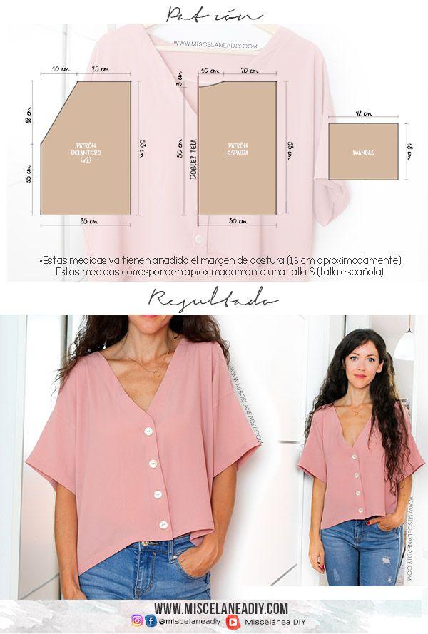 PATRÓN TALLA S para hacer esta blusa de manga corta y botones