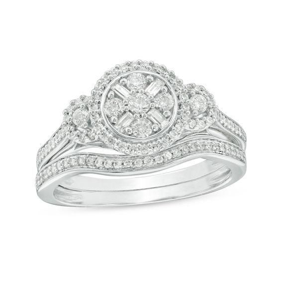 Zales 1/5 CT. T.w. Composite Diamond Frame Woven Vintage-Style Bridal Set in Sterling Silver 50yXOlRe
