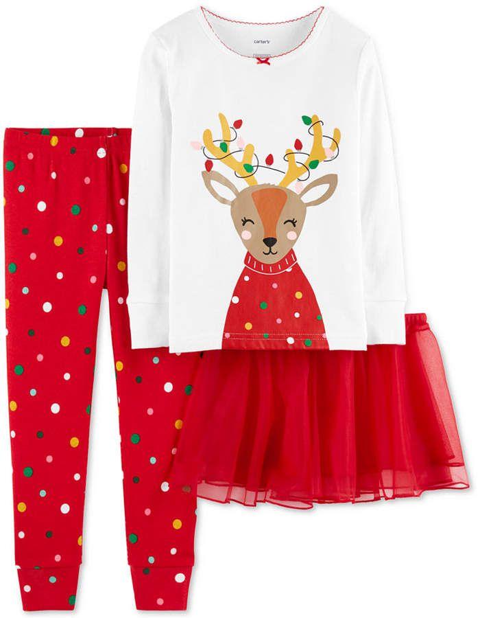 Carter\u0027s Baby Girls 3-Pc Reindeer Tutu Pajama Set - Red 12 months