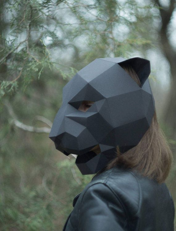 Cat Panther Mask,DIY 3D mask,PDF,Polygon Paper Mask,Template - paper face mask template