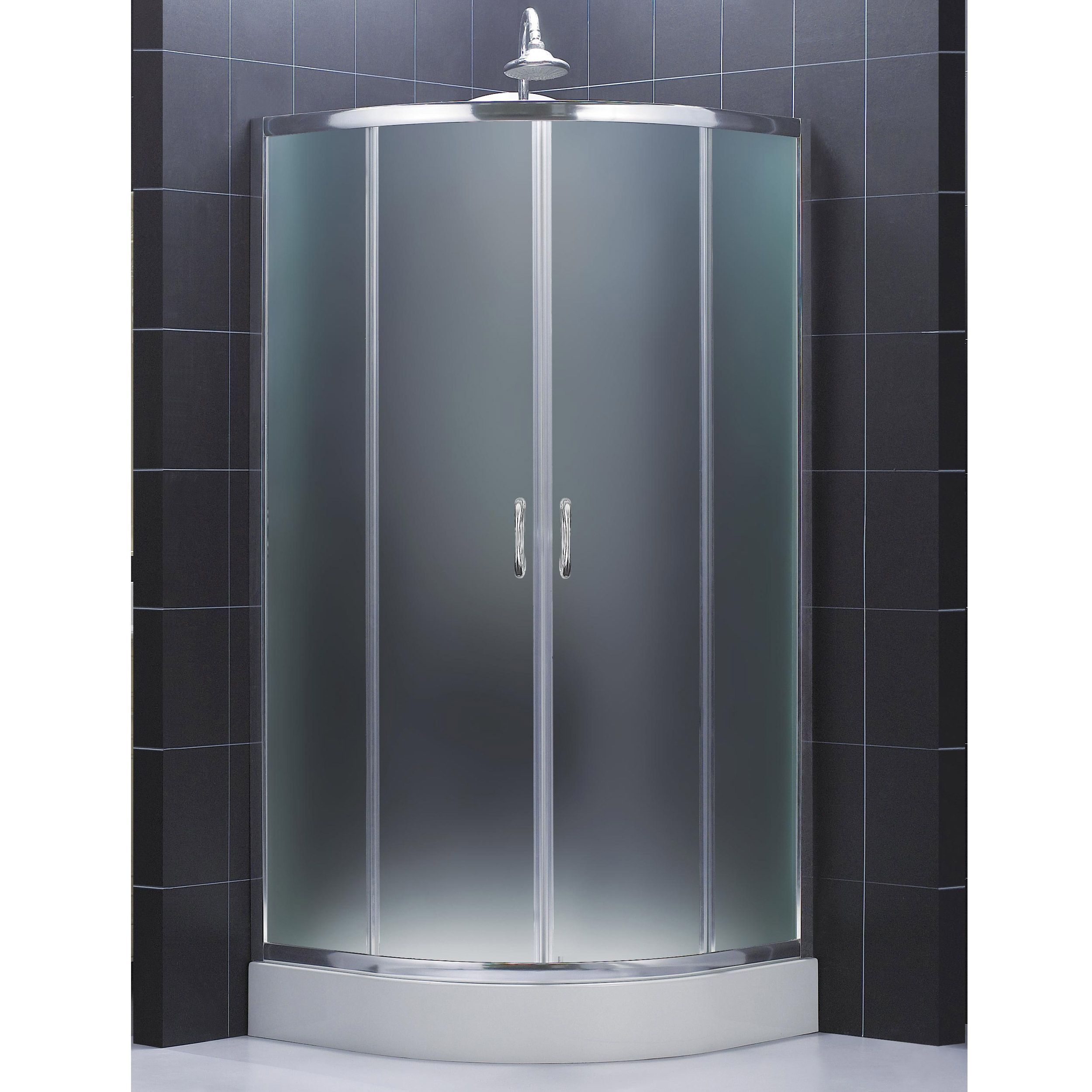dreamline prime frameless sliding shower enclosure and slimline 33 in by 33 in quarter round shower base by dreamline