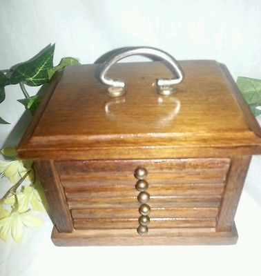 Vintage Wood Cork Coaster Set Wooden Storage Box Holder Handle complete
