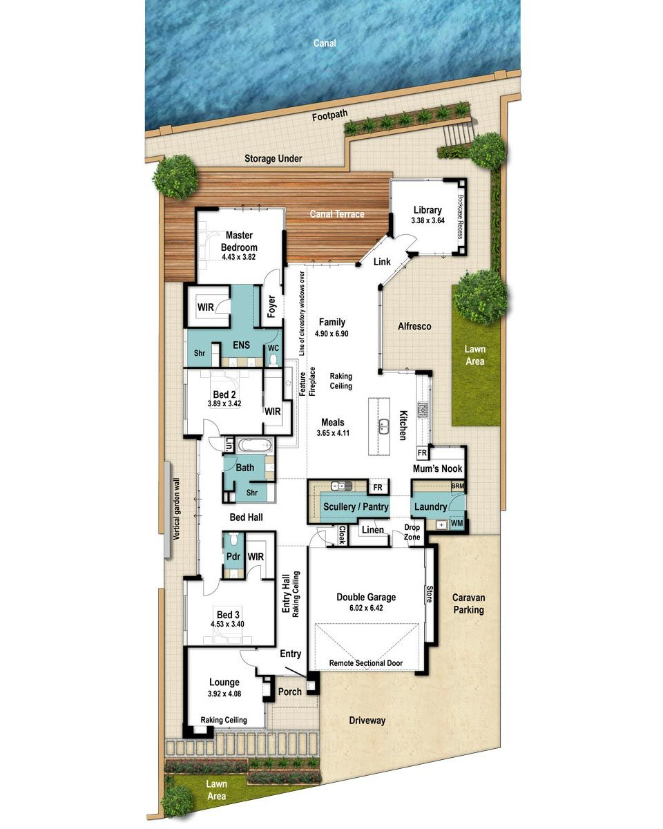 We Love The Arrangement Of Bedrooms 2 3 With Their Private Bathroom Courtyard Then There S Mum S Floor Plans Unique Floor Plans Single Storey House Plans