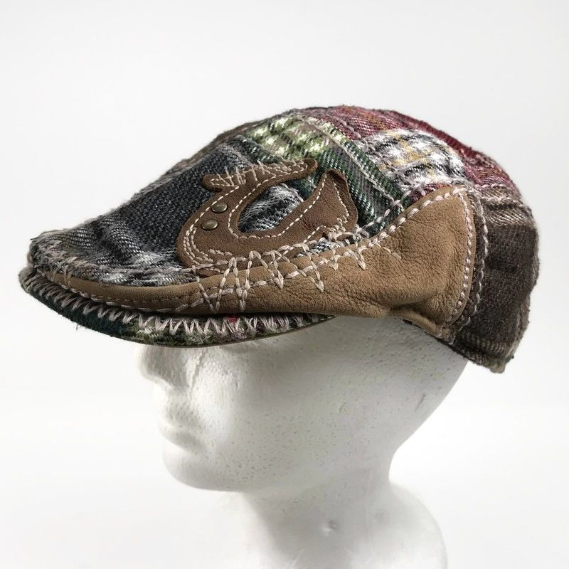 7934368b1a1d True Religion Newsboy Cap Hat Patchwork Plaid Cabbie Wool Blend ...