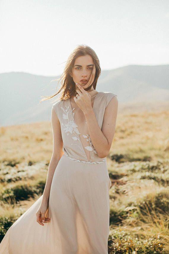 Sale / Simple silk wedding dress // Camille/ Open back bridal ...