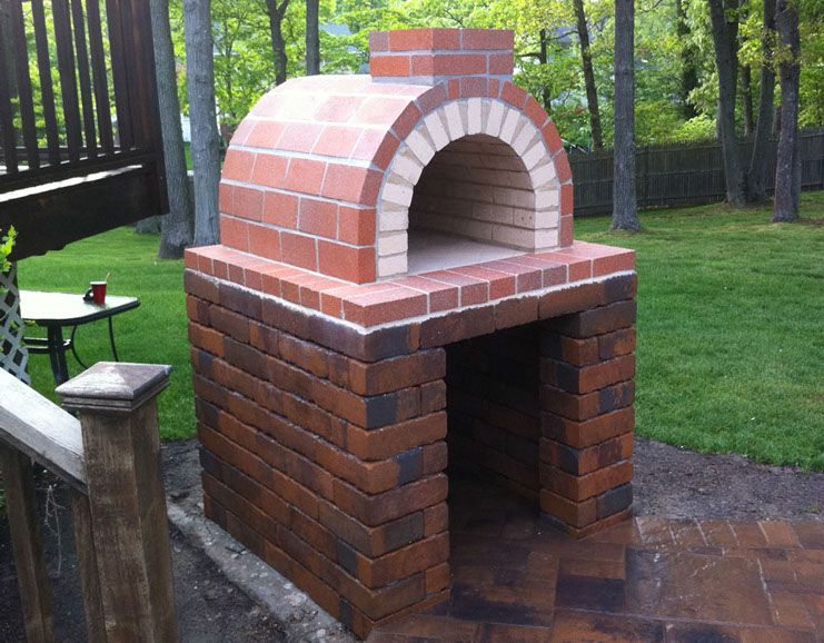 front view of the natalie family wood fired diy brick pizza oven in