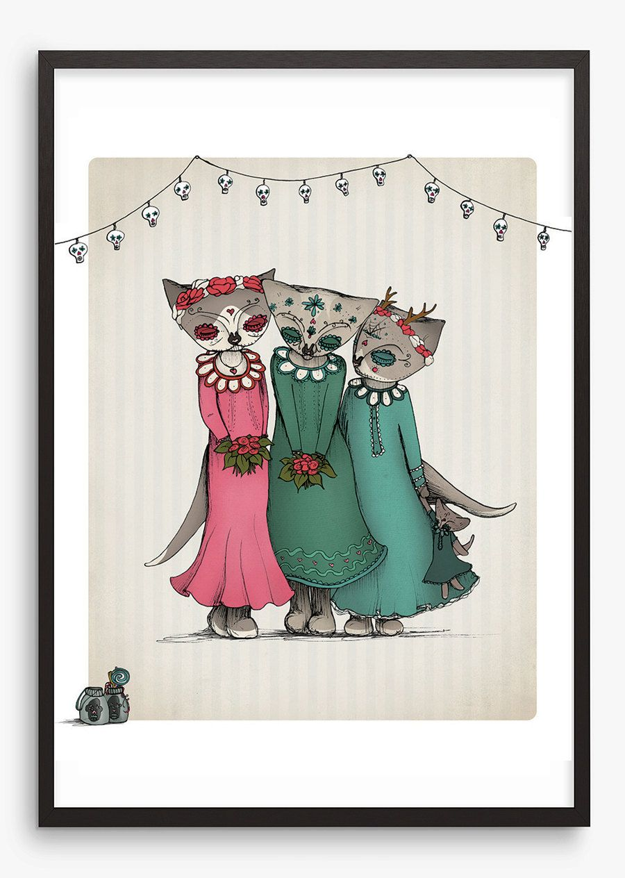 Day+of+the+Dead+Art+Illustration+Print+Cat++by+ShopMissElla,+$22.40