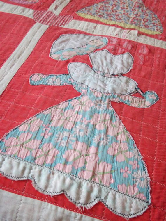 Vintage Quilt - Possible Cutter - Sun Bonnet Sue #sunbonnetsue