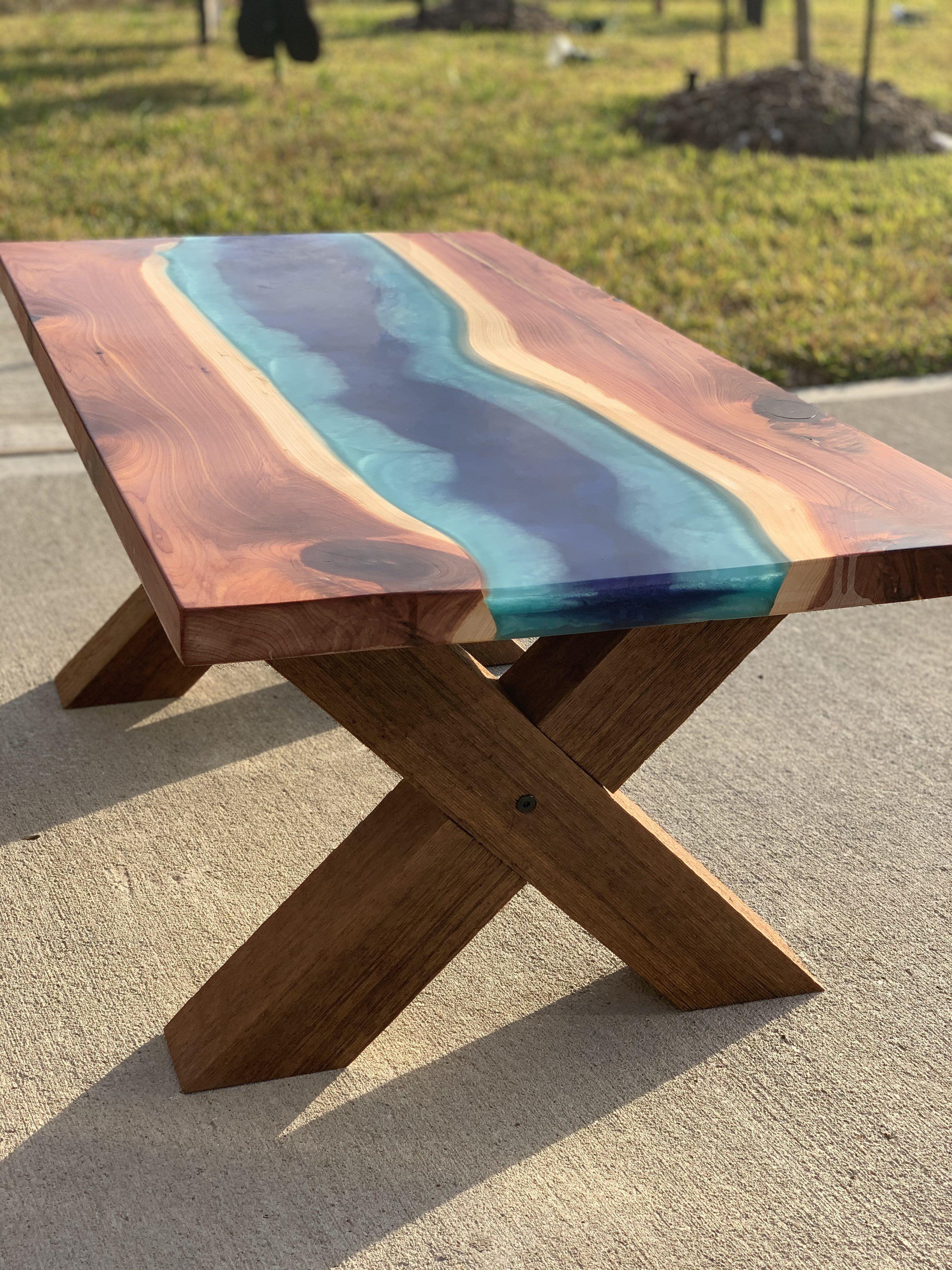 Cedar epoxy river table in 2020 cedar table epoxy table