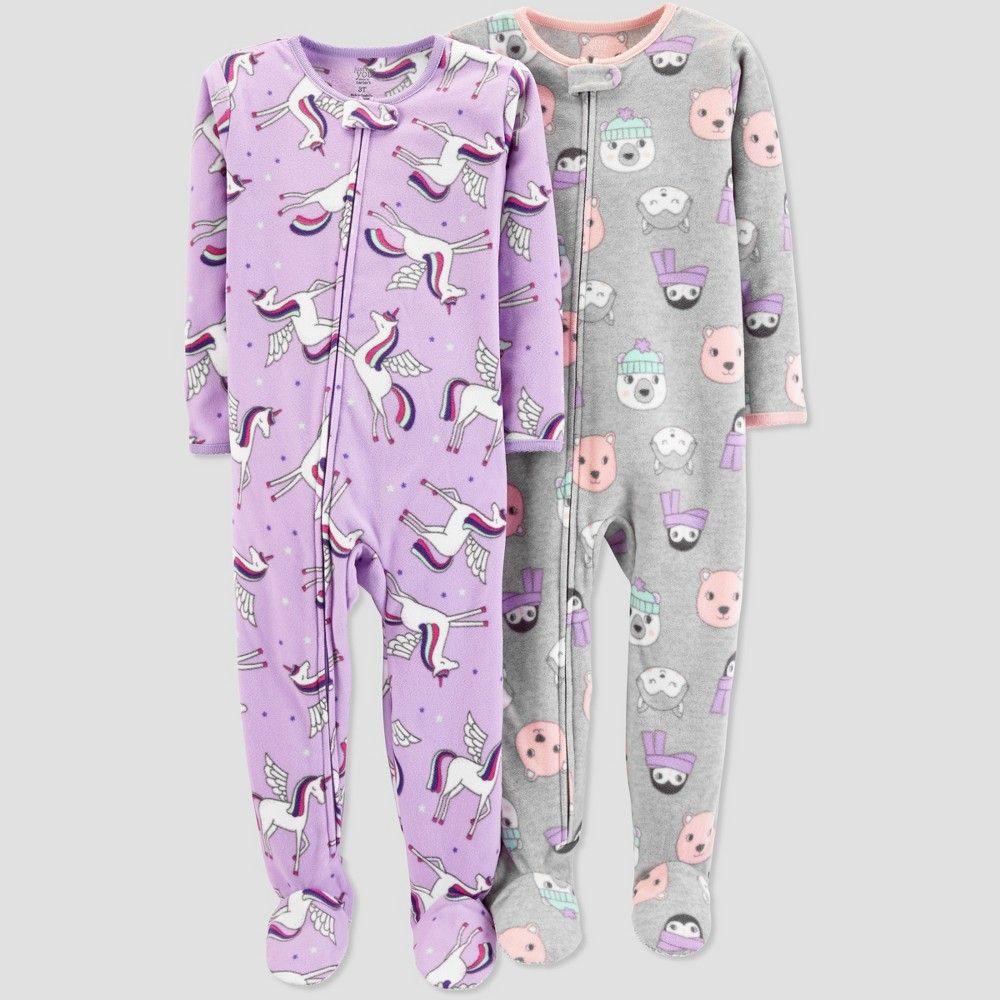 Toddler Girls Fleece Unicorn One Piece Pajama Just One