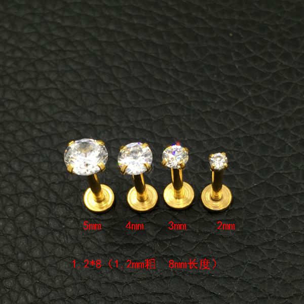 Crystal CZ gem Lip Stud Gold Labret Tragus Earrings 316L Stainless