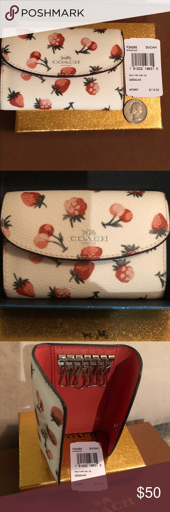 24473acf7f Coach Leather Cherry & Fruit Print Key Case New with tag. Holds up ...