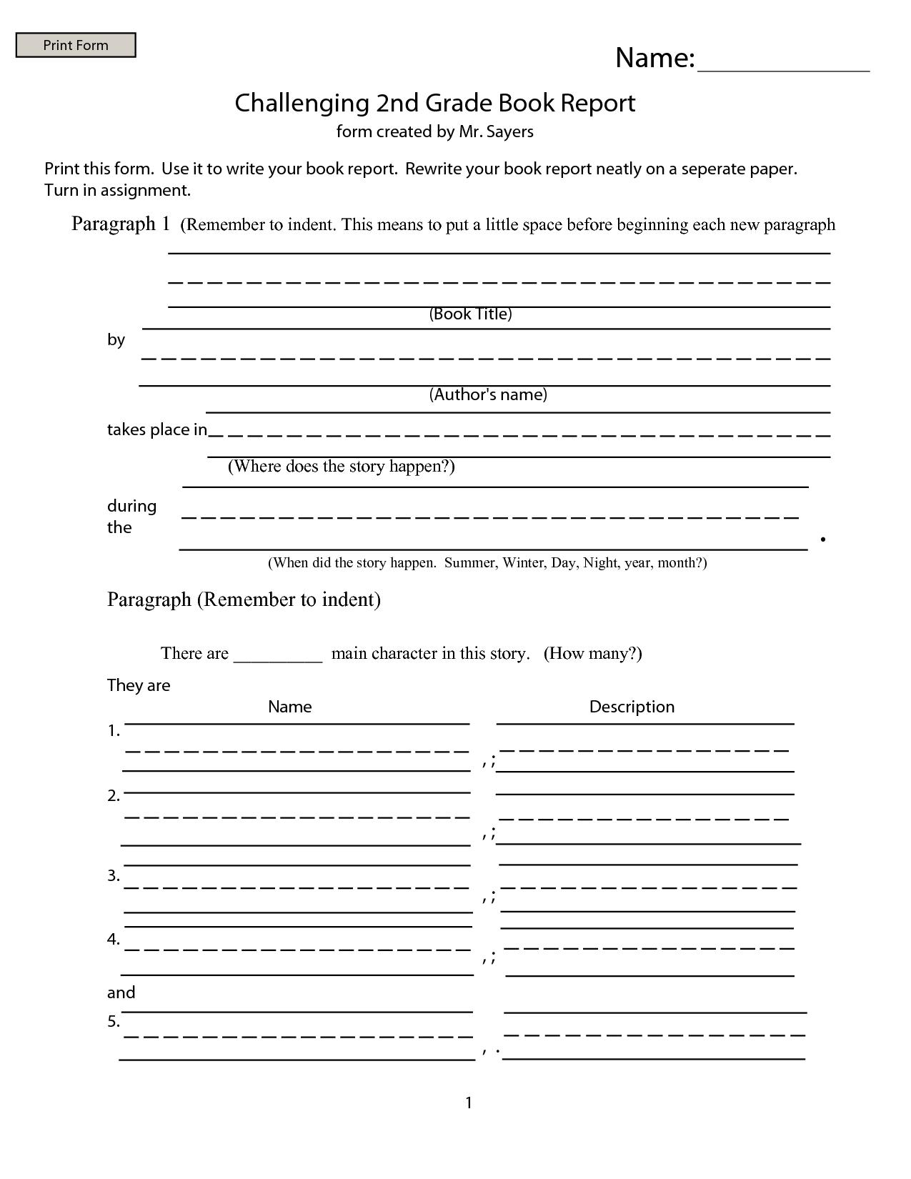 Nd Grade Book Report  Google Search  Homeschooling Ideas