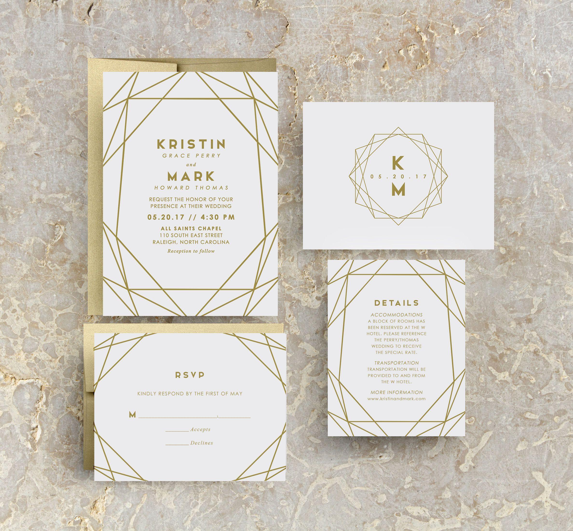Gold Wedding Invitation Modern Wedding Invitation Geometric