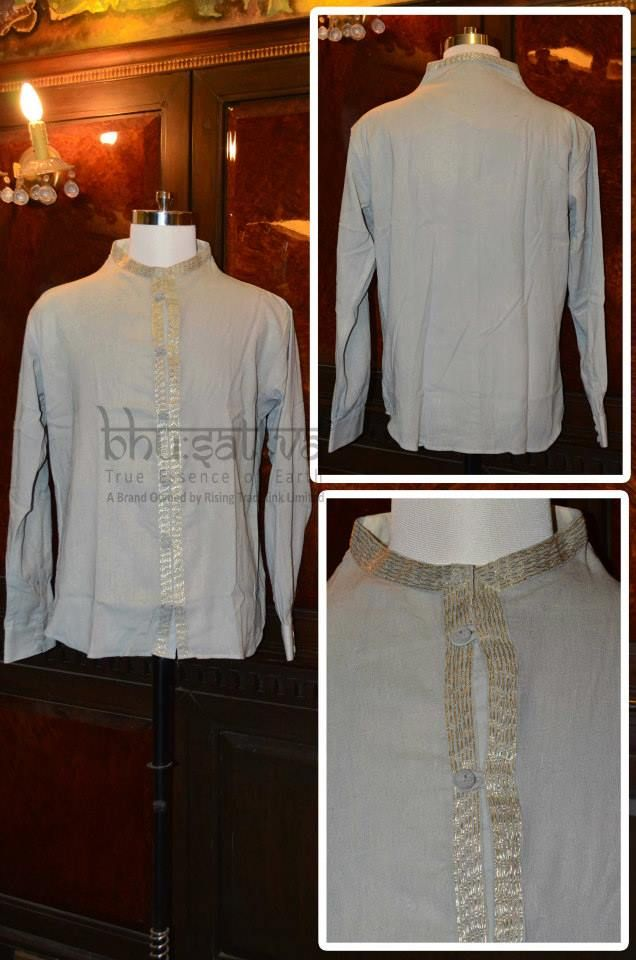 Handwoven Sile Fabric Men Shirt Casual 100% Raw Cotton Hand Embroidered Sea  washed and on