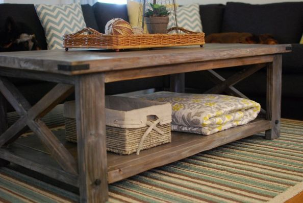 Diy Rustic Coffee Table Home Decor Painted Furniture To Give The New Wood And Aged Look I Used A Vinegar Steel Wool Solution