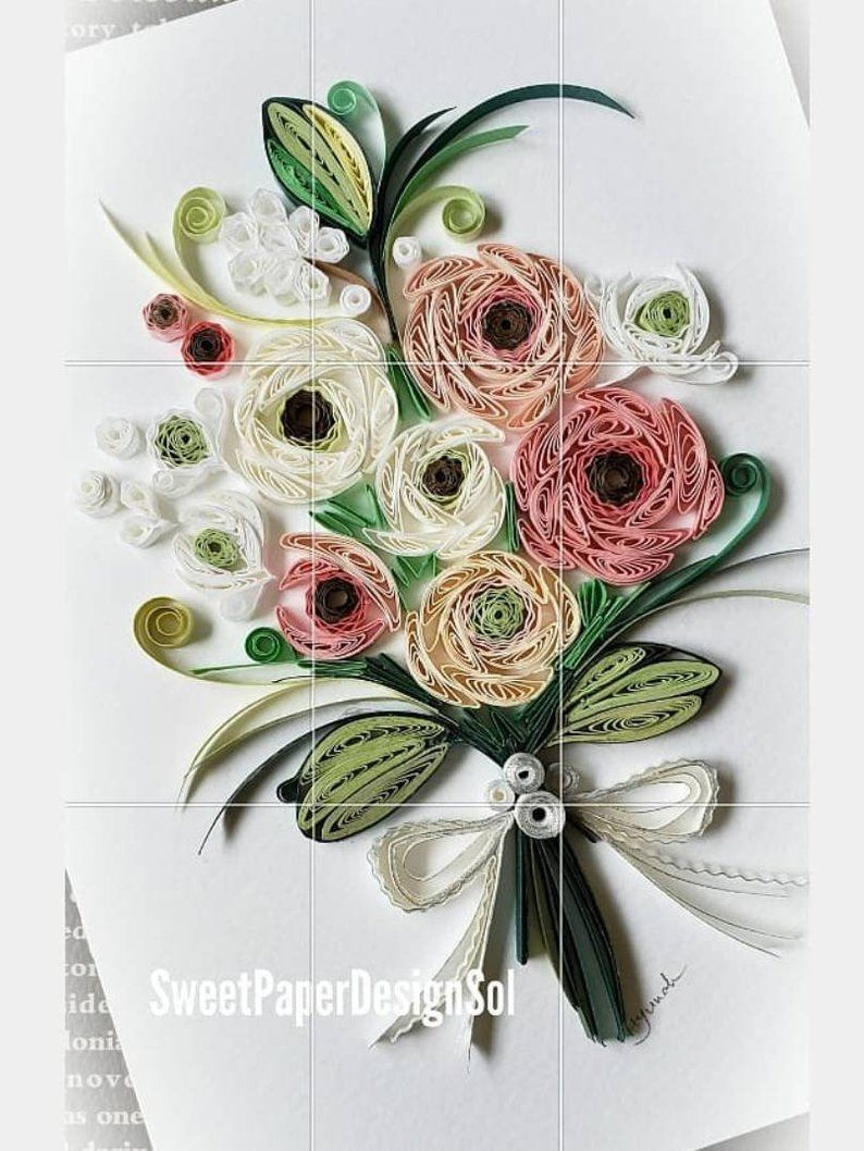 Paper Quilling Art Flower Bouquet Card Valentine S Day Wedding