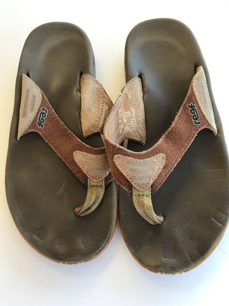 78e0ff0f157 Mens Reef Suede Leather Size 8 Flip Flops Sandals Brown Tan EU 40  Reef   FlipFlops