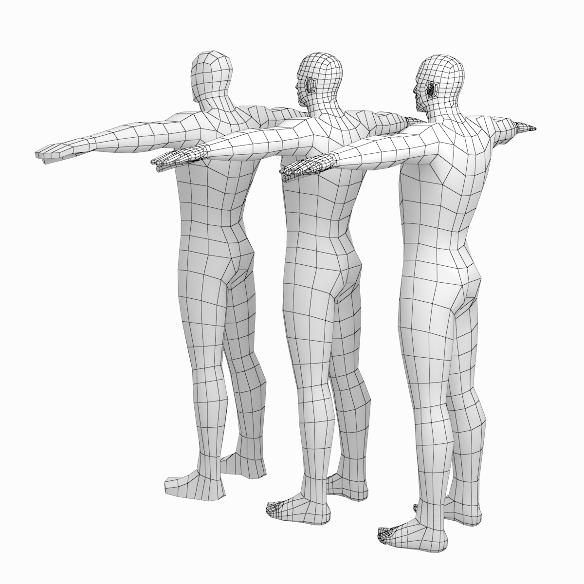 Male Hero Low Poly Base Mesh In T Pose Low Poly Animated Cartoons Poses