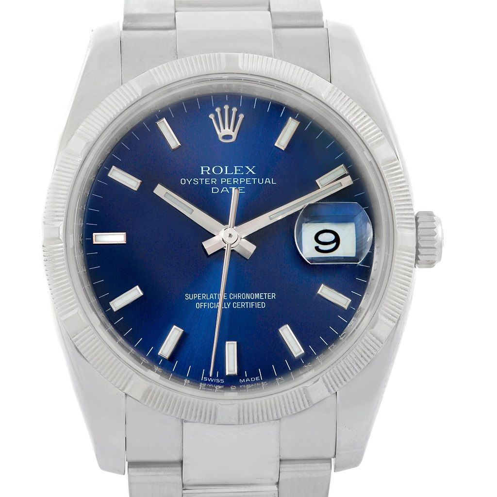 Rolex Date Mens Stainless Steel Blue Dial Watch 115210