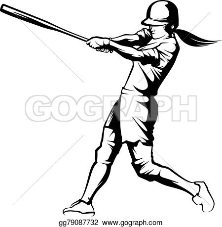 Vector Art Softball Batter Clipart Drawing Gg79087732 Gograph Black And White Illustration Sport Illustration Illustration